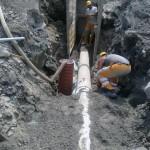 SO 06, Zberače Jasenica AA- montáž potrubia zo sklolaminátu